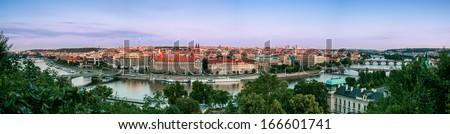 Panorama od Prague with Vltava river and Prague Bridges - stock photo