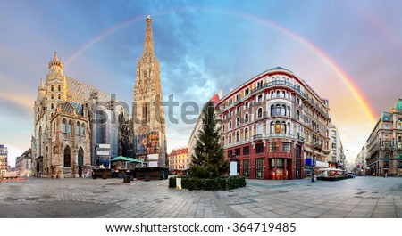 Panorama od Vienna square with rainbow - Stephens cathedral, nobody - stock photo