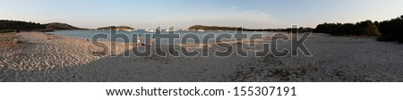 Panorama of a beach in summer - Corsica - stock photo