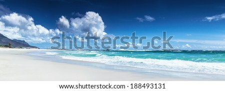 Panorama of a beach landscape, Clifton beach, Cape Town, South Africa, panoramic seascape, wonderful weather, summer vacation - stock photo