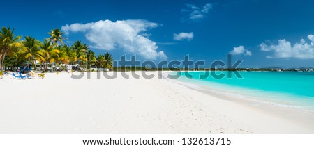 Panorama of a beautiful beach on Anguilla island, Caribbean - stock photo
