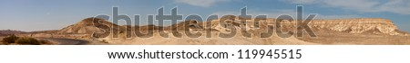 Panorama of a big mountains in a Negev desert, near Dead Sea, Israel - stock photo