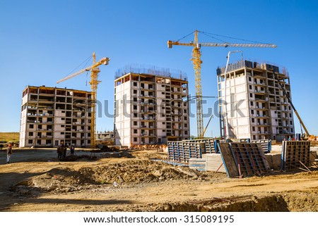panorama of a building site against a clear sky - stock photo