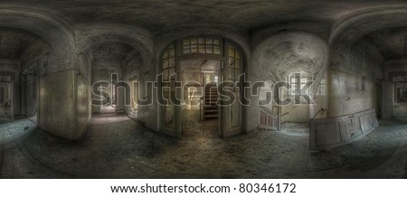 panorama of a hallway with staircases in an abandoned complex, hdr processing - stock photo