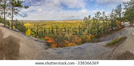 Panorama of a Mixed Forest in Autumn From a Rocky Lookout - Algonquin Provincial Park, Ontario, Canada - stock photo