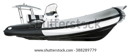 Panorama of a motorboat in white isolated background - stock photo
