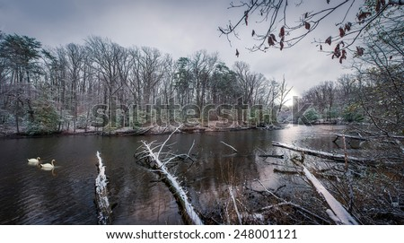 Panorama of a river in the Appalachian mountains in Maryland in Winter - stock photo