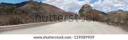 panorama of a road through the Flinders Ranges, Outback South Australia - stock photo