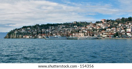 Panorama of a seaside city - stock photo