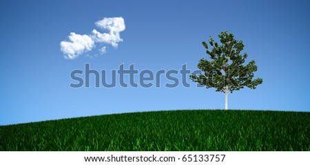 Panorama of a tree on a meadow against a blue sky - stock photo