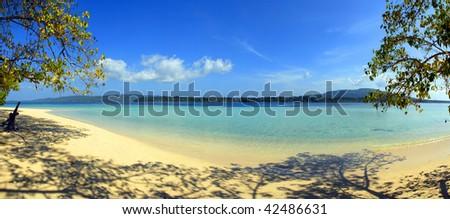 Panorama of a tropical beach - stock photo