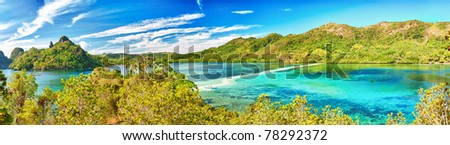 Panorama of a tropical islan Snake. Philippines - stock photo