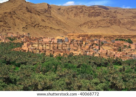 panorama of a village among Moroccan hills, view from the road from Tinerhir to Todra gore