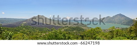 Panorama of a Volcano and lake Batur in Bali. Indonesia. - stock photo