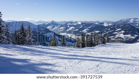 Panorama of a winter landscape at a ski area, Kitzski, Kitzbuhel - Kirchberg, Austria