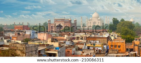 Panorama of Agra city, India. Taj Mahal in the background - stock photo