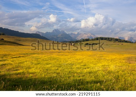 Panorama of Alpe di Suisi, Dolomites mountains, Italy - stock photo