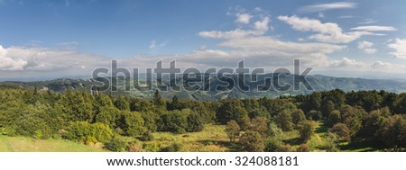 Panorama of amazing summer mountains countryside under blue sky with white clouds - White Carpathian Mountains, Czech-Slovak border, Europe - stock photo