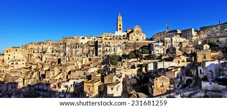 panorama of ancient cave city Matera, Basilicata, Italy - stock photo