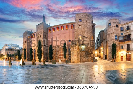 Panorama of Ancient Roman Gate and Placa Nova, Barri Gothic Quarter, Barcelona, Spain - stock photo