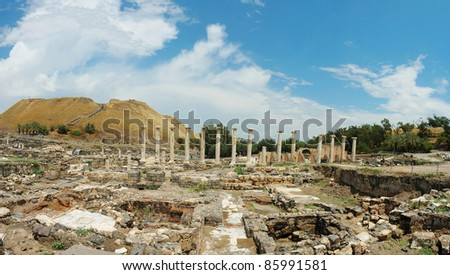 Panorama of ancient ruins of Beit Shean (Beit Shearim) city , Israel