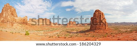 Panorama of Arches National Park - a U.S. National Park in eastern Utah - stock photo