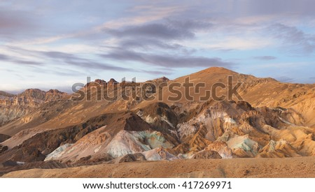 Panorama of Artist Point, Death Valley National Park - stock photo