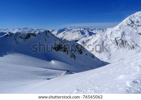 Panorama of Austrian Alps in Stubai ski resort - stock photo