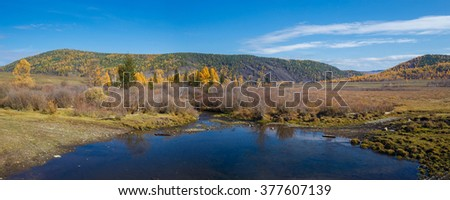 Panorama of Autumn valley with colorful trees and river