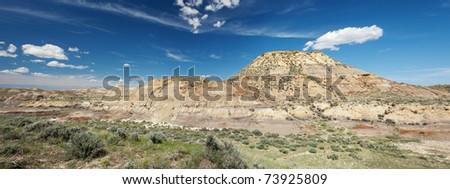 Panorama of badlands in northern Montana - stock photo