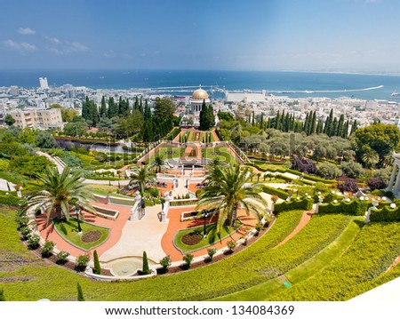 Panorama of Bahai Garden at Bahai Temple on Carmel mountain, Haifa, Israel on the seashore of Mediterranean sea. - stock photo