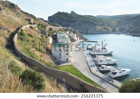 Panorama of Balaklava sea bay. - stock photo