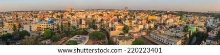 Panorama of Bangalore City skyline, India - stock photo