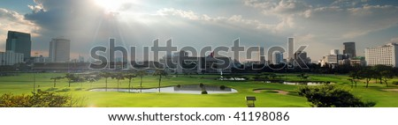 Panorama of Bangkok Silom distinct. Thailand - stock photo