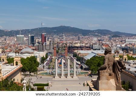 panorama of Barcelona - stock photo
