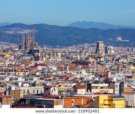 Panorama of Barcelona from Montjuic - stock photo