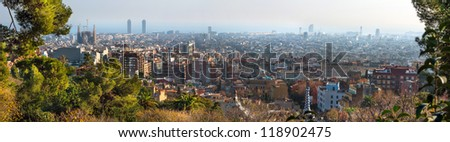 Panorama of Barcelona from Park Guell - stock photo