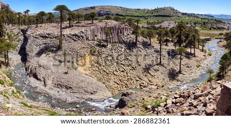 Panorama of Basalt columns on Patagonia, Neuquen. Land of dinosaurs. Provincial Park of Copahue - stock photo