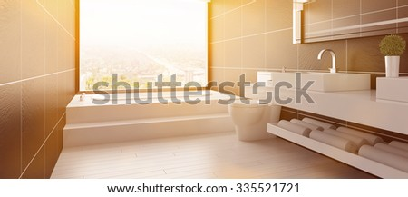 Panorama of bathroom with sunlight and bathtub in summer (3D Rendering) - stock photo