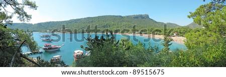 panorama of beach in kemer resort turkey - stock photo