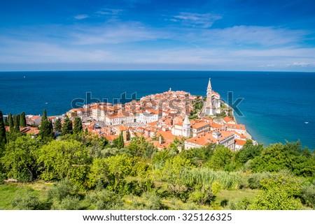 Panorama of beautiful Piran over Adriatic Sea, Slovenia - stock photo