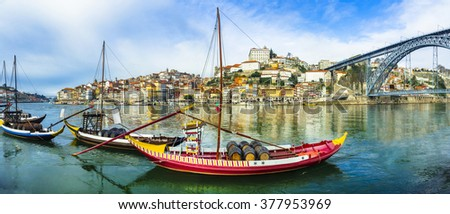 panorama of beautiful Porto with traditional boats. Portugal - stock photo