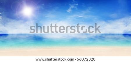 Panorama of beautiful sunny beach - stock photo