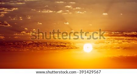 Panorama beautiful sunset sunrise panoramic background stock photo panorama of beautiful sunset sunrise panoramic background yellow and orange warm colors of natural voltagebd Choice Image