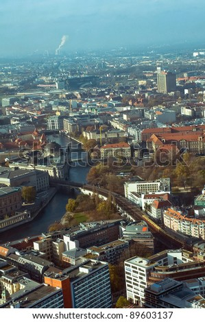 Panorama of Berlin from the Television Tower, Germany - stock photo