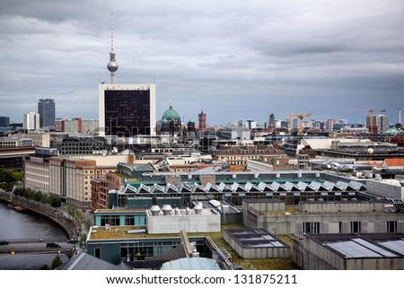 Panorama of Berlin, Germany View from Reichstag. - stock photo