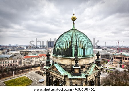 panorama of berlin with a tower of Berliner Dom - stock photo
