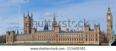 Panorama of Big Ben and House of Parliament at River Thame London England UK - stock photo