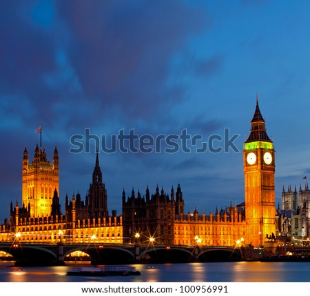 Panorama of Big Ben and House of Parliament at River Thames International Landmark of London England United Kingdom at Dusk