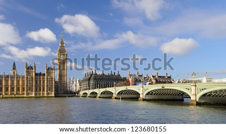 Panorama of Big Ben tower, the Houses of Parliament and Westminster Bridge in London. - stock photo